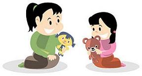 親と遊んでる女の子のイメージ